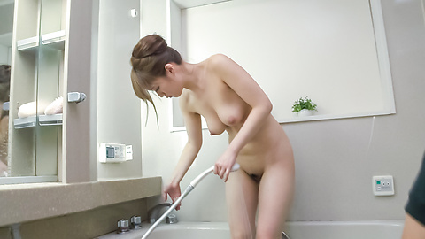 Nasty Japanese blowjob in the shower with Eri Hosaka