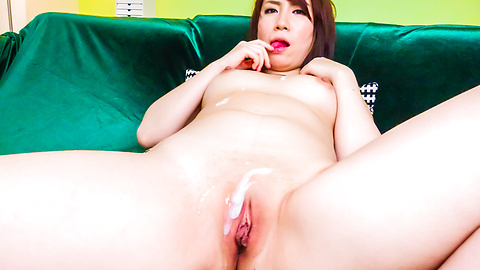 Sakura Ooba gives an asian blow job to two after masturbating